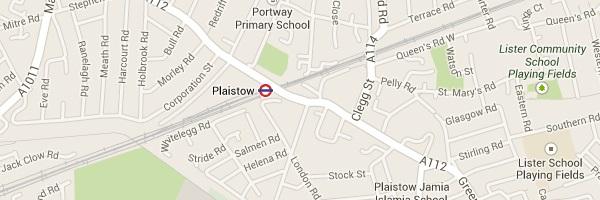 Map of Plaistow E13 London