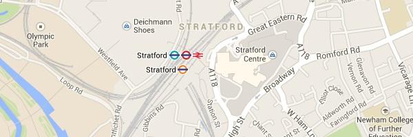 Map of Stratford, E15 London