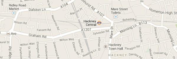 Map of Hackney London E8