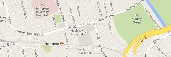 Map of Homerton London E9