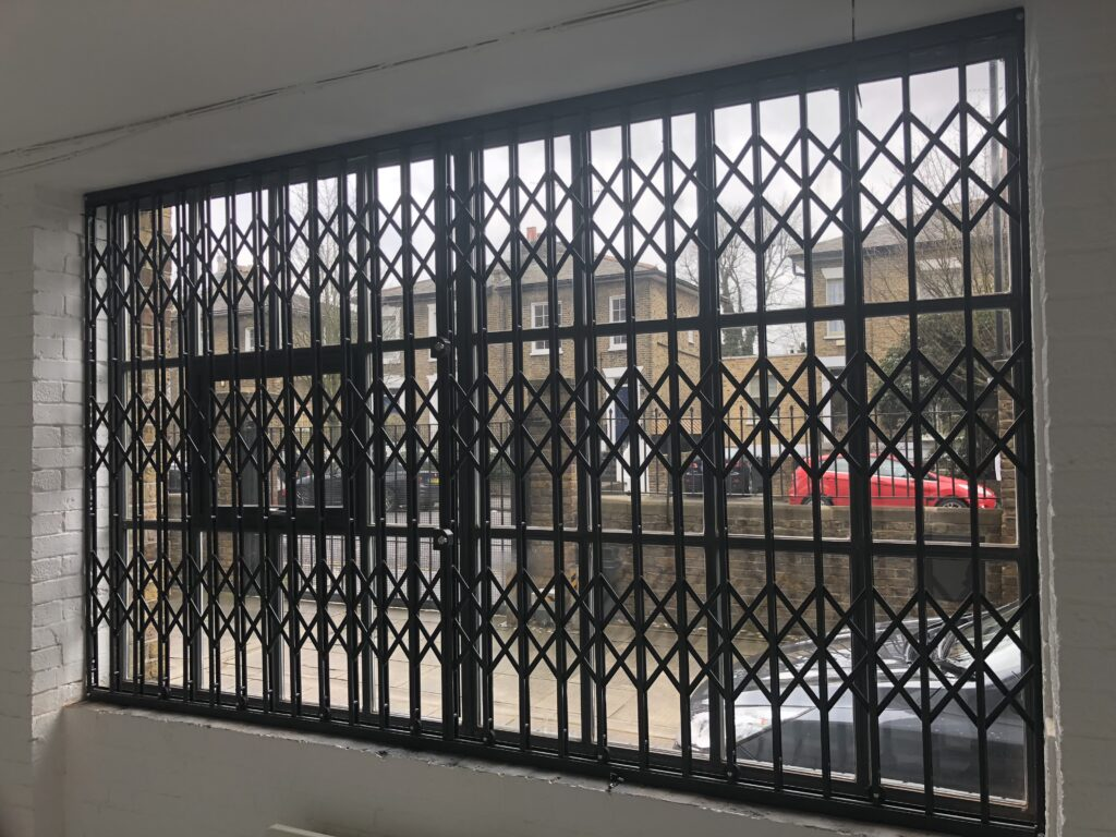 These high security grilles prevent entry out of hours but can be easily retracted to let in light and air when occupied